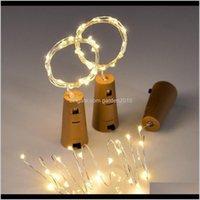 Decorazioni natalizie incluse Batterie 10 pz 1m 2m Lampada a LED Stringa Lampade per bottiglia di vino Stopper Light Sughero a forma di sughero per la festa Matrimonio Decorati X7Job