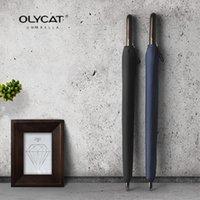 Зонтики Olycat 24k черный и синий бизнес зонтик прямая деревянная ручка сильная резистентность ветра мужчин женщин