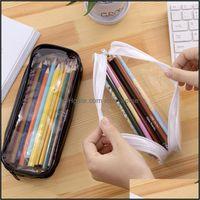 Cases Bags Supplies Office School Business & Industrialtransparent Simple Style Mtifunctional Pvc Zipper Pencil Case Large Capacity Portable