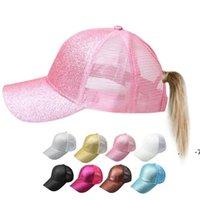 포니 테일 모자 형광 스팽글 안티 땀 통기성 메쉬 호의 모자 조정 가능한 안티 UV 모자 스포츠 야구 모자 FWC7556