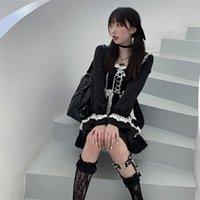 2021 New Japanese Lolita Gothic Bandage Dress Girl Vintage Designer Mini Dress Japan Style Kawaii Clothes Fall Dresses for Women