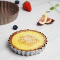 Mini Tart Pan Removível Bottom Rodada Rodada Quiche Bakeware Sobremesas Cookie Pudim molde 4 polegadas LLE6689