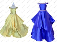 Girl's Dresses 2021 Vintage Yellow Royal Blue Cold Shoulder Little Girls Pageant Formal Prom Evening Party For Toddler Cupcake A Line