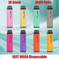 Original Iget Mega Dispositivo Dispositivo Dispositivo Desechable E-Cigarette 3000 Puffs Carácter precargado Batería Vape Stick Pen vs Shion King Plus Max XXL 100% Auténtico