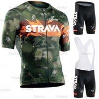 Racing Sets Strava Велоспорт Джерси набор летний камуфляж мужской с коротким рукавом велосипеда костюма костюма против УФ-горный велосипедная форма