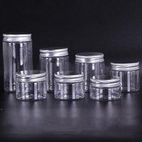 30 ml 40ml 50ml 60ml 80 ml frascos de plástico transparente mascotas de plástico cajas de almacenamiento botella redonda con tapas de plástico de aluminio HHF6049