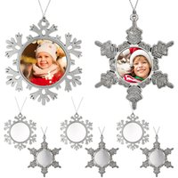 DIY Blanks Sublimation Christmas Snowflake Ornament Metal Christmas-pendant White Dye Blank Transfer Xmas Hanging Decorations Winter for Party Craft Home, 2 Styles