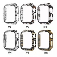 For Apple Watch Series 6 5 4 3 2 SE Cases iwatch 38mm 42mm 40mm 44mm Leopard Zebra Slim Hard PC Tempered Glass Full Screen Protector Protect Case Cover Accessories