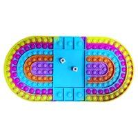 EU estoque Big Game Fidget Toy Party Favor Arco-íris Tabuleiro de xadrez Push Bubble Sensory Toys for Parent-Child Time Interactive Game