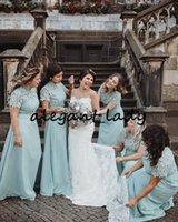 Mint Green кружева шифон платья невесты с рукавами 2020 современные высокие шеи полная длина пляжная вечеринка младшие свадьбы гостевые платья