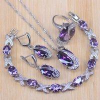 Risenj Серебряный цветные ювелирные наборы для женщин свадебные фиолетовые хрустальные серьги браслет кольца ожерелье подвеска капля