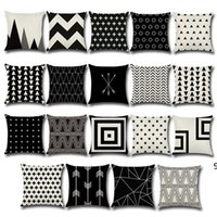 Pillow Case Black and Tan Pattern Pillowcase Cotton Linen Printed 18x18 Inches Geometry Euro Pillow Covers 45*45cm CCF10835