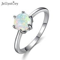 Jellystory Trendy 925 Sterling Silber Ring für Frauen Hochzeit Schmuck Roung White Blue Opal Edelstong 6 Klaue Engament Geschenke Cluster Ringe