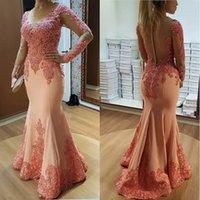 Long Sleeves Muslim Prom Dresses Mermaid Lace Beaded See Through Islamic Dubai Saudi Arabic Evening Gown