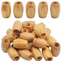 30 stycken dreadlock lösa trä stora rörpärlor för smycken gör hårhål: 10mm