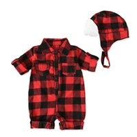 Herbst Baby Jungen Rot Plaid Langarm Baumwolle Strampler Hut Mode Gentleman Jumper Infant Overalls Neugeborene Kleidung 903 V2