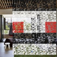 Wallpapers 4pcs Flower Wallpaper Wall Sticker Hanging Screen Curtain Room Divider Partition Feshion Home Decoration