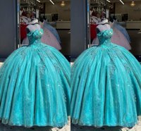 2021 Bling Turquoise Organza Quinceanera Dresses For Women Ball Gowns Plus Size Off Shoulder Applique Beaded Sweet 15 Girls Prom Graduation Party Dress
