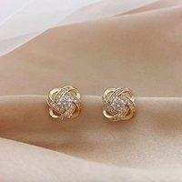Stud 2021 Fashion Hollow Metal Flowers Temperament Earrings Sweet Fresh Crystal Lovely Joker Small Women Jewelry