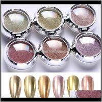 1 box зеркало блеск твердой розовой золотой dip порошок ногтей хромированный пигмент diy украшения пыли для ногтей макияж gel vxq2s Roixe
