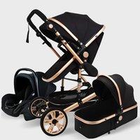Designer Stroller di lusso Multifuntional Baby 3 in 1 Alto Paesaggio Portable Carriage Gold Born
