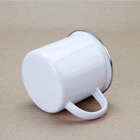 300ml Sublimation Enamel mug enamelled tumblers with handle Blank sublimated Coffee mugs unbreakable cup DIY Printing JJA206 SEA SHIPPING