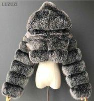 Luzuzi зима пушистый обрезанный из искусственного пальто из искусственного пальто с капюшоном теплые куртки дамы Manteau Femme 210906