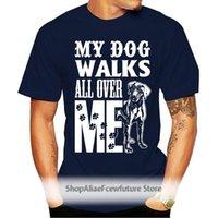 100% Baumwolle Slim Fit Top Hemden für Männer Mein Hund Wandert alles über mir T-shirt Mutter Pelzige Kinder Liebe Rettung Tier T-Shirt Frauen