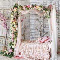 Luxury Wedding Road Cited Flowers Wall Rose Peony Hydrangea DIY Arch Door Flower Row Runner Window T Station Christmas Decor Decorative & Wr