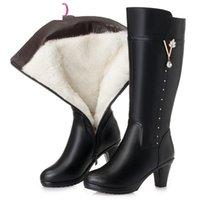 Boots Winter Knee High Warm Wool Fur Shoes Woman Heels Soft Leather Non-slip Women's Footwear Botas TD6J