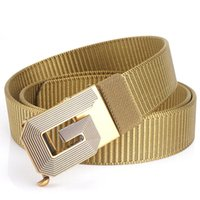 Belts G-button Men Toothless Automatic Buckle Belt Nylon Canvas Outdoor Leisure Breathable Designer