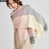 200x70cm Winter Oversize Scarves Fashion Grids Checks Plaid Warm Blanket Wraps Cashmere Scarf Shawl Tassels Bandanas