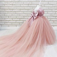 2021 Lace Beaded Flower Girl Dresses Ball Gown Tulle Bow Blush Pink Lilttle Kids Birthday Pageant Weddding Gowns