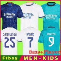 Gerçek Madrid Jerseys 21 22 Futbol Futbol Gömlek Oyuncu Alaba Tehlike Sergio Ramos Benzema Modric ASensio Camavinga Kroos Vini Casemiro Erkekler Kids Kiti 2021 2022 Üniforma