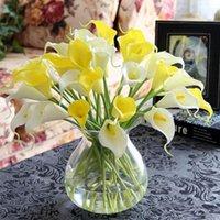 장식 꽃 화환 10pcs 인공 칼라 릴리 무리 라텍스 진짜 터치 가짜 꽃밭 신부 결혼식 테이블 홈 장식 높은 망