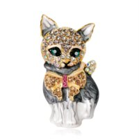Enamel Diamond Cat Brooch pins Animal design business suit top dress cosage for women men Fashion jewelry will and sandy
