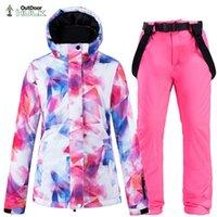 Skiing Suits Colorful Snow Suit Women's Snowboard Clothing Set Winter 10K Waterproof Thicken Costumes Outdoor Coat + Ski Bibs Pants