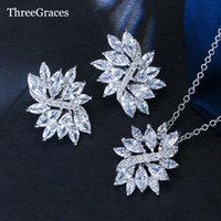 Earrings & Necklace ThreeGraces Exquisite Women Accessory Cubic Zirconia Crystal Big Flower Pendant Jewelry Set For Girlfriend's Gift JS010