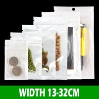 200pcs Clear+ white pearl Plastic Poly OPP Bags Gift Wrap packing zipper Zip lock Retail Packages PVC bag for iphone xs plus Samsung Galaxy Case 13-31cm size Pouches