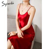 Satin Strap Syiwidii Vintage Spaghetti Woman Evening Dress Party Black Sundress Long Wedding Pure Silk Dress Green 2021 Summer