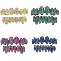 New Full colour zircon Teeth Grillz Top & Bottom 18K gold silvery Color Grills Dental Mouth Hip Hop Fashion Jewelry Rapper Jewelry 8 styles