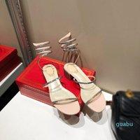 Moda Cleo Gökkuşağı Sandal Kristal Serpantin Sarma Açık Toe Seksi Yüksek Topuk Parti Kadın Tasarımcı Sandalet
