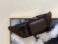 كريستوفر الرجال بومباج الكلاسيكية قماش حزام حقيبة عبر الهيكل genunie جلد البقر الرجل الرجل الخصر حقائب الكتف محفظة M45337