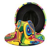 Wide Brim Hats 2021 Digital Printing Woolen Hat, Female Top Fashion Men's Fedora Travel Sun Visor, Jazz Hat