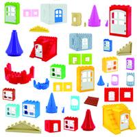 DIY Big Size Building Blocks Accessori Piastrelle Tetto Cilindro Castello Podio Castello Amico educativo Ragazza Giocattoli Giocattoli Regali per Bambini