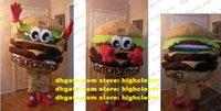 Netter brauner Hamburger Bests Burger auf dem Planeten Maskottchen Kostüm Ham Burger Brötchen Panettone Brot mit roten Händen No.586 Freies Schiff