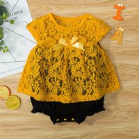 Girls Rompers Baby Bodysuits Clothes Infant Jumpsuit Summer Short Sleeve Lace Dress One Piece Clothing B6179