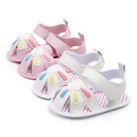 Симпатичные цветочные детские сандалии PU кожа лето дети девушки обувь дышащая мягкая единственная нескользящая младенческая малыш первые ходоки обувь