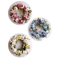 Decorative Flowers & Wreaths Peony Simulated Garland Rattan Ging Decoration Pography Props Wedding Wreath Flower Christmas Home Door
