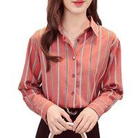 Kadın Bluzlar Gömlek Tops Casual Gevşek Sonbahar Çizgili Uzun Kollu Kadın Bayanlar Ofis Bluz Gömlek Blusas Femininas Kadınlar